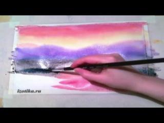 Как нарисовать пейзаж акварелью по мокрому