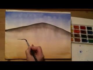 Как нарисовать пейзаж акварелью. Растяжка тона