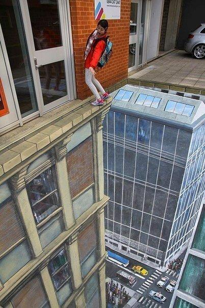 3D-рисунок на тротуаре, смешные картинки с днем рождения. Смешные