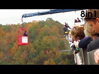Фейл во время прыжка с парашютом с моста - неудачный бейсджампинг, стоя на руках / Bridge Day 2014 Handstand BASE jump fail