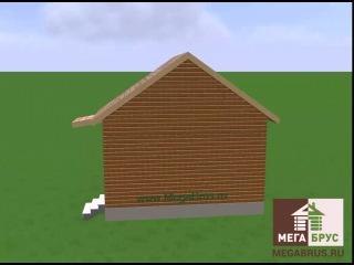 Дачный домик 4x6м. Проект дома из бруса ПД-1