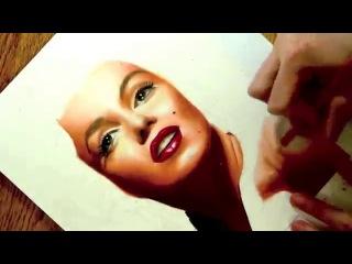 Рисуем портрет Мерлин Монро.