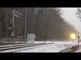 Локомотивы в снегопад-штат Мэриленд,США