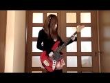 Классная игра японки на бас гитаре