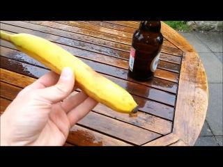 Как открыть бутылку пива бананом, реальный способ