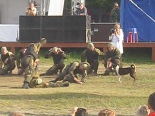 Собака помогает Иркутскому спецназу в показательном выступлении