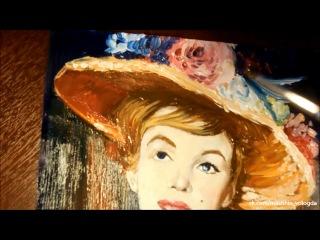 Мерлин Монро с фото масло картон 25х20 см