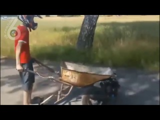 Мото тележка для строителя, незаменимая вещь (6 sec)