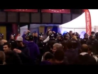 Fight between fans and police before the match NK Maribor-Chelsea FC