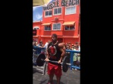 Heres a sneak peak from Phillip Heath training yesterday at Muscle Beach