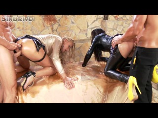 Leather babes aurelly rebel & kayla green - soaked in jizz & oil, fucked in ass, face & pussy
