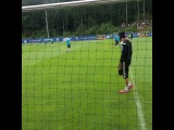 Petr Cech saves from Gary Cahill in training.