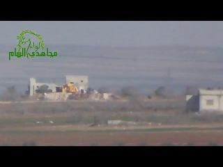 Сирия.выстрел из ПТРК по танку на блокпосту.