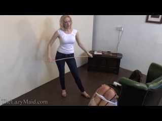 Breaking in the new maid - strapping & caning sophie's bottom - -