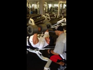 Big Ramy Training Chest with 150lb Dumbbells