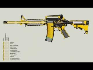 Как работает штурмовая винтовка M16.