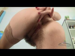 Hairy , pussy , masturbation  solo , girl , в чулках , не брита