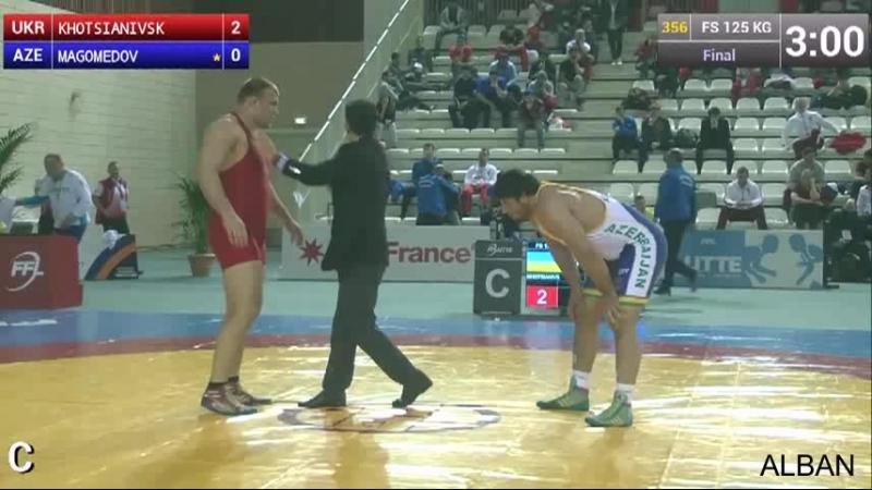 Гран при Париж 2015 125 кг финал:Александр Хоцяновский (Украина)-Джамалутдин Магомедов (Азербайджан)