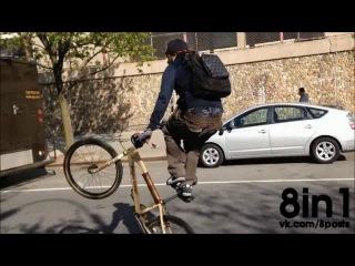 Безумный крутой велосипедист на заднем колесе едет по дороге без остановки / Maniacc DBlocks - Cycle Squad wheeling
