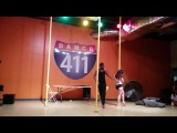 Beejay Harris and Cait Meree a.k.a. Kitty Purry. First pole duet at Dance 411