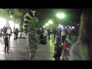 Медленный  танец с зеброй, такое только бывает в Ялте