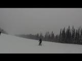 Шерегеш, Руслан с Лилечкой первый раз на лыжах, январь 2015 г.