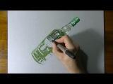 Невероятный 3д рисунок бутылки Amazing 3d picture of vodka