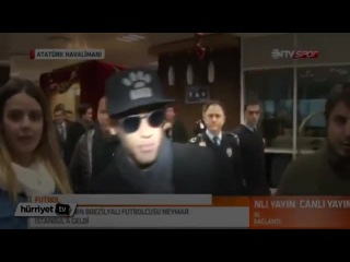 Neymar arriving in Istanbul for the opening presser of the International Royal Cup, 2015.01.12