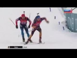 Победный финиш сборной России по биатлону)))