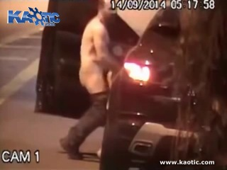 Cctv cameras catches man pulling over and fucking a girl in the middle of the street