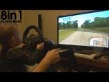 Маленький мальчик сидит на коленях отца и НЕПЛОХО играет на руле в гоночный симултор ралли  3 years old boy Konsta plays Richard Burns Rally with steering wheel