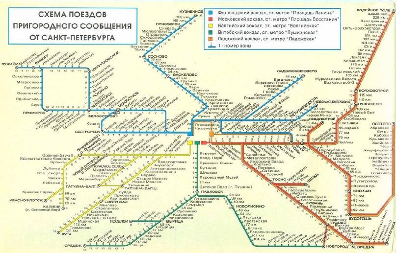 Схема поездов пригородного