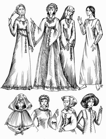 Примеры костюмов.  Покрой примерно соответствует позднему Средневековью...