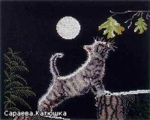 Нашла схему в интернете.  СХЕМА.  Лунный КОТ - вышивка.