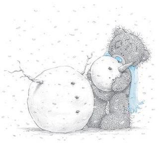 "Схема вышивки  ""Леплю снеговика "" ."