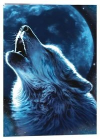 """Предпросмотр схемы вышивки  """"Волк и Луна """".  Волк и Луна, волк, животное, зверь, хищник, луна, планета."""