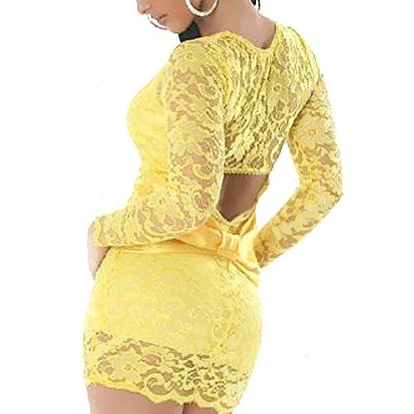 Желтое ажурное клубное платье с длинным рукавом.  Изображение 5.