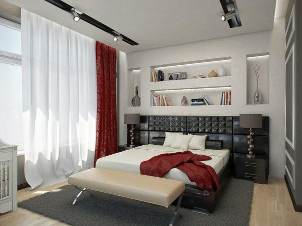 Спальня в контрастных тонах (1 фото) - картинка