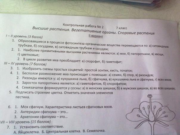 Контрольная работа по биологии класс ВКонтакте Основной альбом