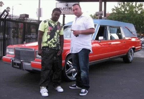 T-Pain with his Orange Hearse!