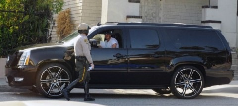 David Beckham in his Cadillac Escalade ESV
