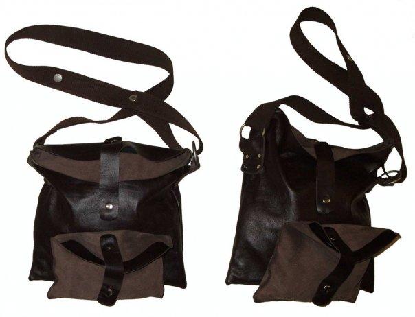 сумка из овчиной кожи без подкладки, ремень из стропы, металлофурнитура.