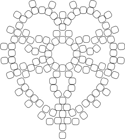 Схема плетения сердца из бисера.