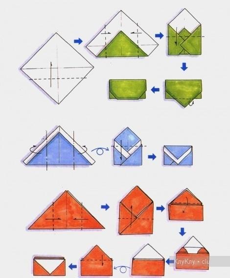 Как сделать оригами конверт из бумаги схема = .  Освоить схему оригами.