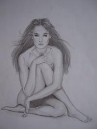 Рисунок карандашом.  Девушка в платке.