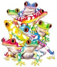 """Схема вышивки  """"Цветные лягушки """" ."""