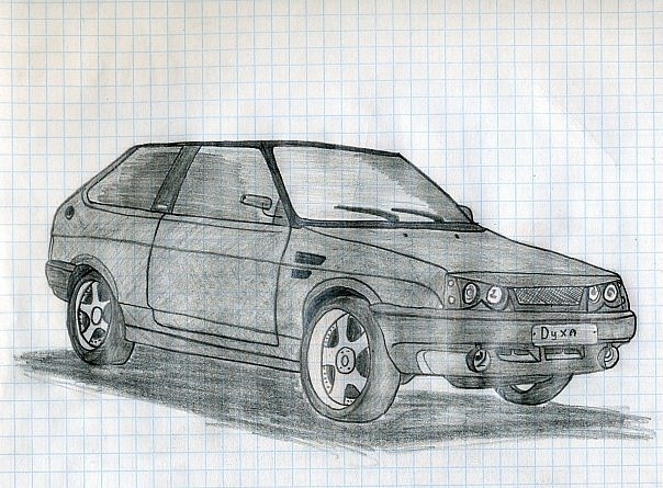 Машины нарисованные карандашом