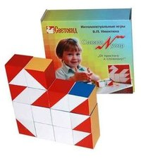 Деревянные кубики Никитина Сложи узор состоят из 16 кубиков, каждая из шести граней которых окрашена в один из 4...