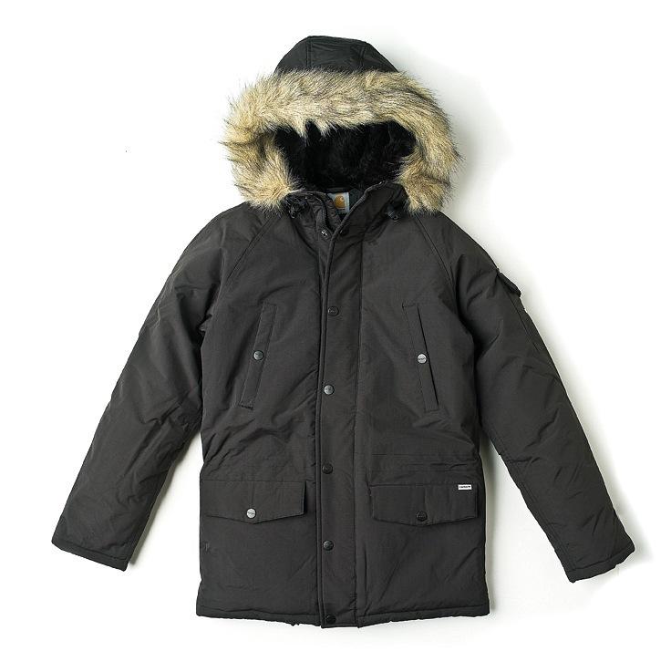 Carhartt W' Anchorage Parka Black/Brocken White: теплая женская парка с капюшоном. манжеты в...