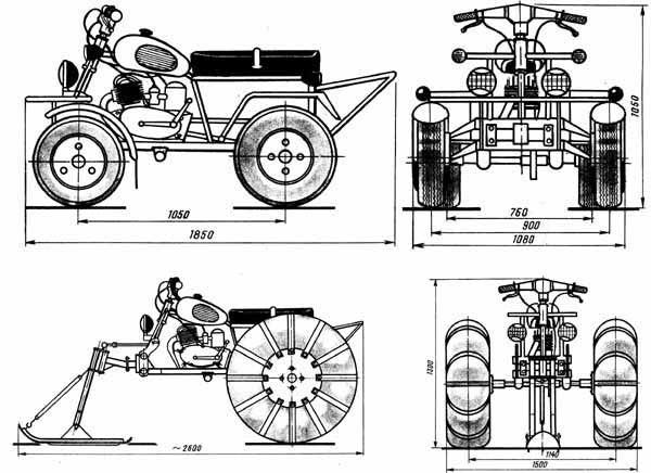 """Квадроцикл на базе тяжелого мотоцикла  """"Урал-2 """": 1 - переднее управляемое колесо (от."""